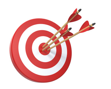 Target with three arrows isolated